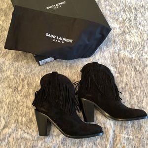 Saint Laurent Black Fringe Boots